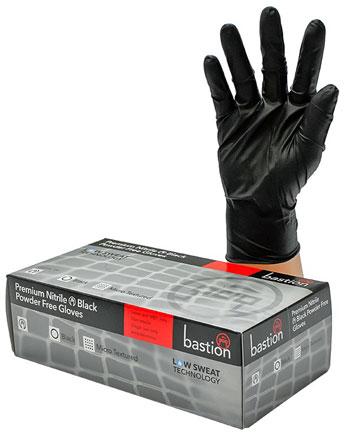 black nitrile gloves no powder