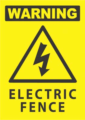 electic fence warning sign
