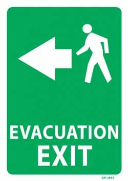 Evacuation Exit with Left Arrow - PVC sign