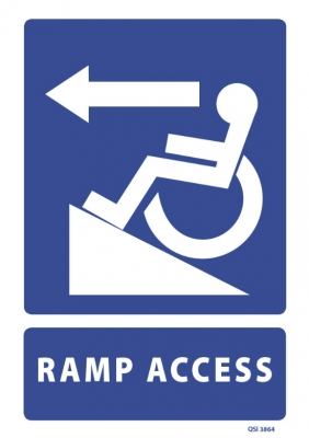 Ramp Access with Left Arrow sign