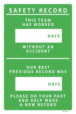 Safety Record Team PVC sign