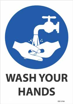Wash Your Hands (Blue) Sign